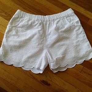 Mini Boden Girls White Eyelet Shorts 8Y